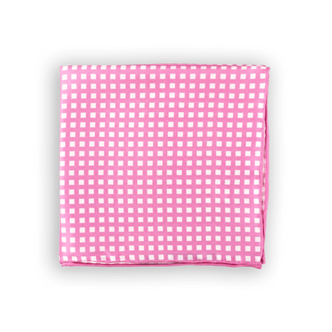 Pink and White Checkered Pocket Square