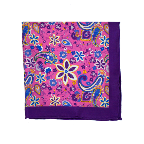 Pink Flower Pocket Square
