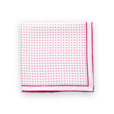 Pink Polka Dotted Pocket Square