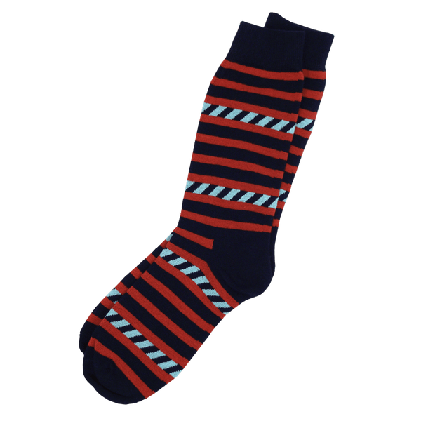 Men's Red and Black Striped Combed Cotton Socks
