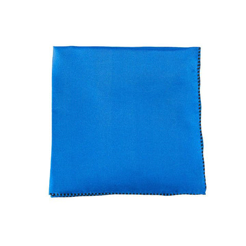Blue Dotted Trim Pocket Square