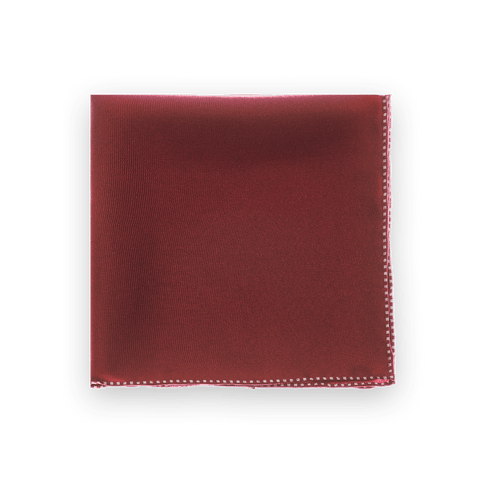 Burgundy Dotted Trim Pocket Square