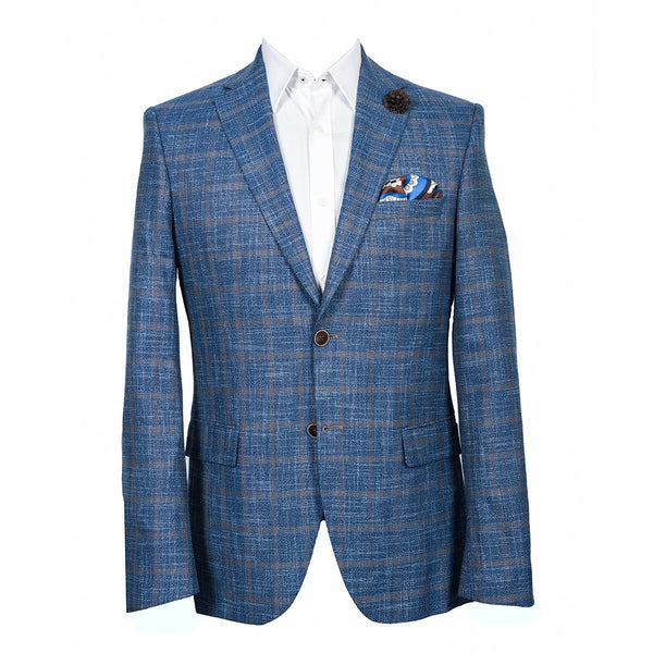 Men's Blue Plaid Sport Coat