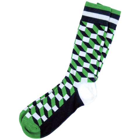 Men's Green Geometric Dress Socks