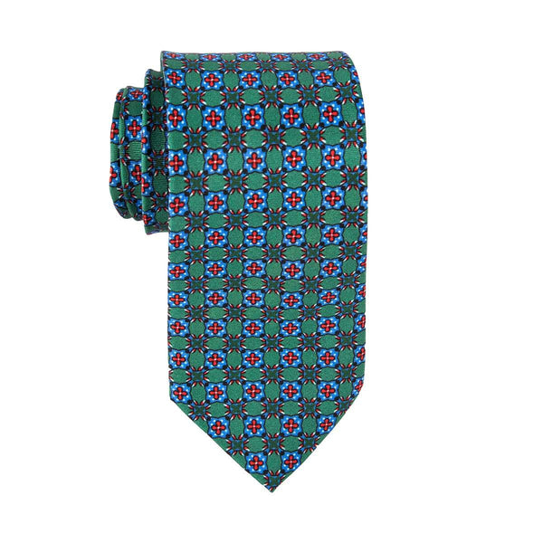 Green Geometric Tile Tie