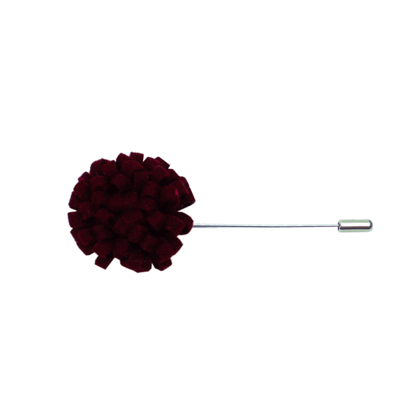 Men's Maroon Felt Flower Lapel Pin