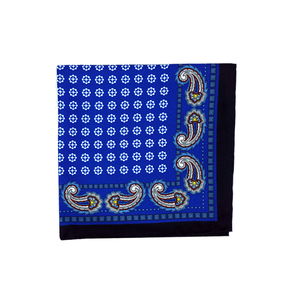 Paisley Medallion Blue Pocket Square + SquareGuard