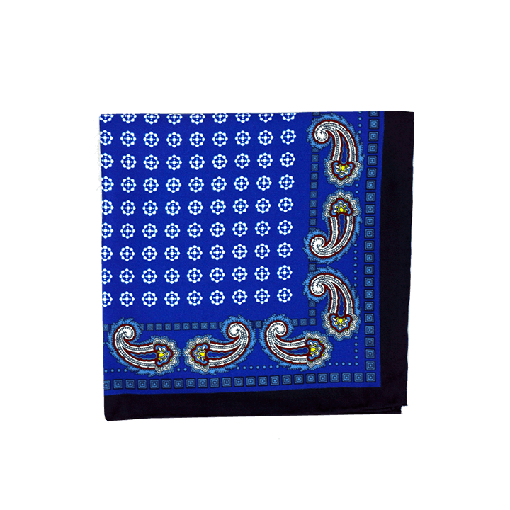 Paisley Medallion Blue Pocket Square