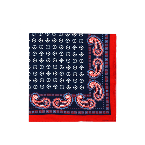 Paisley Medallion Navy Pocket Square