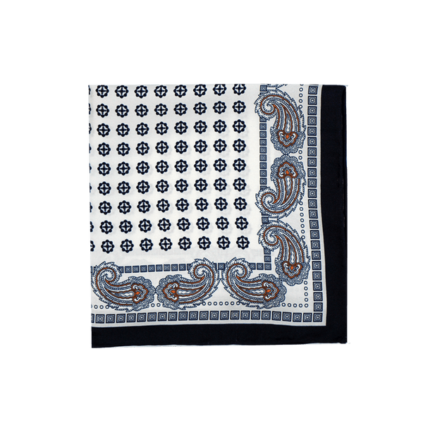 White Paisley Medallion Pocket Square