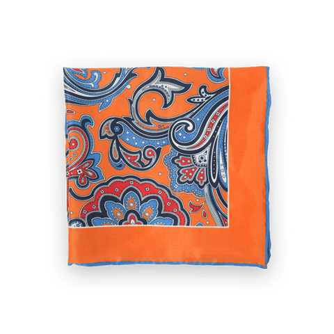 Persian Paisley - Tangerine Pocket Square