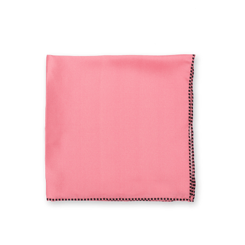 Pink Dotted Trim Pocket Square