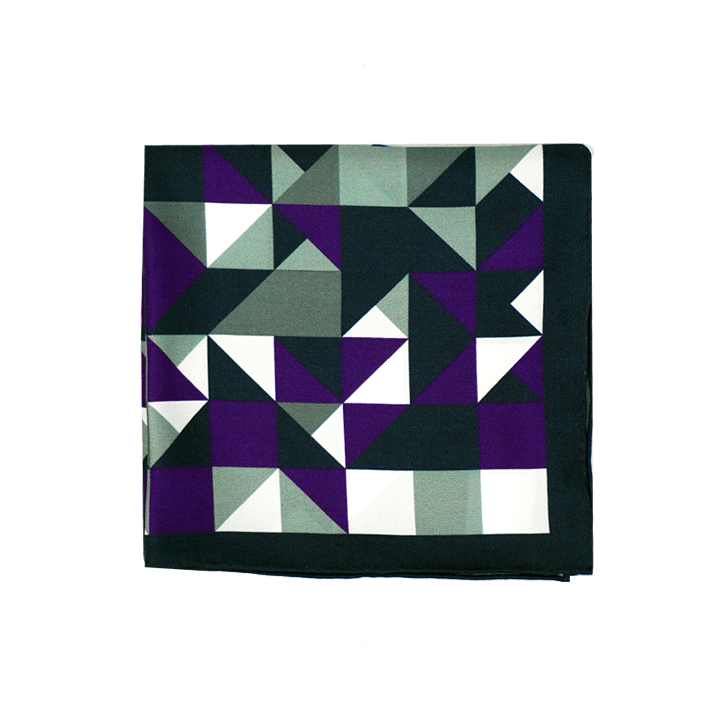 Purple Geometric Pocket Square