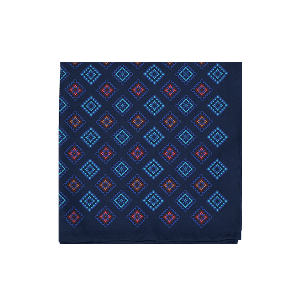 Navy Royal Diamond Pocket Square, Silk Pocket Square