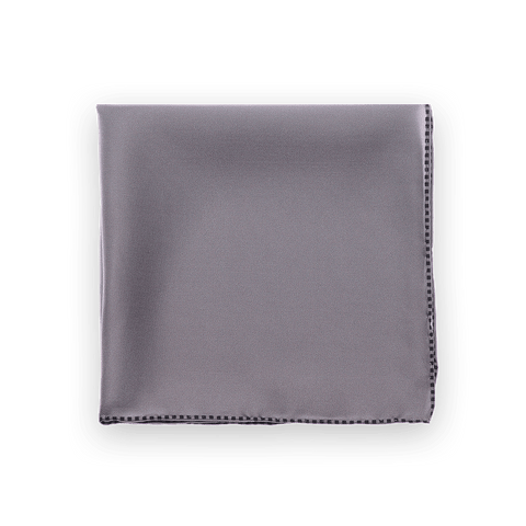 Smoke Dotted Trim Pocket Square