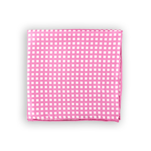 White On Pink Checkered Pocket Square