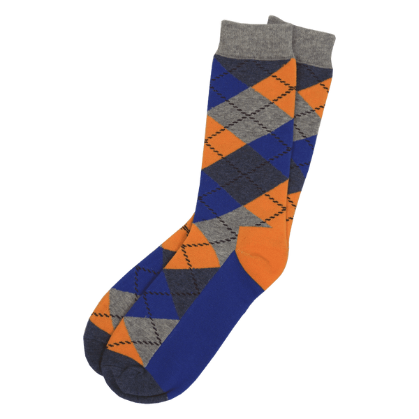 Yellow and Blue Argyle Dress Socks