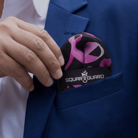 Pocket Square Pink Ribbons for Breast Cancer and SquareGuard