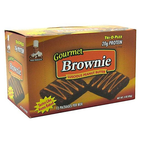 Chef Jays Tri-O-Plex Gourmet Brownie - Luscious Peanut Butter - 12 Packages - 678991251109