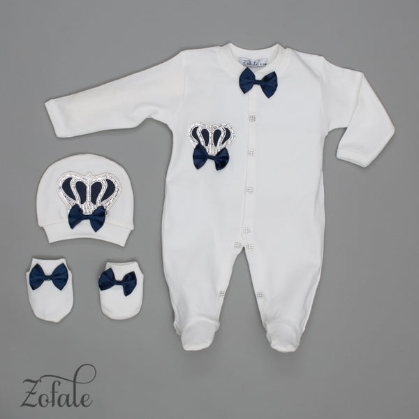 Claude Crown Satin Navy Bleu 3 Pieces Newborn Set