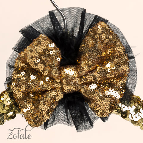 Daisy Black&Gold Sequin Lace Feather Headband