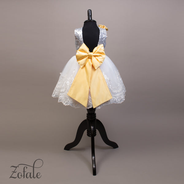 Tulip Silver,White&Yellow Dress