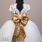 Daisy White&Gold Lace Sequin and Feather Dress