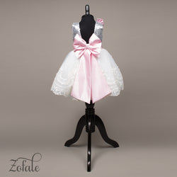 Tulip Silver,Pink&White Dress