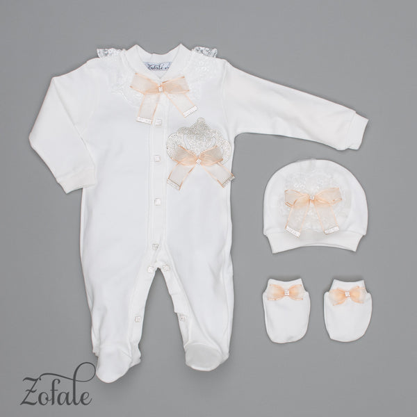 Fanny Crown Salmon 3 Pieces Newborn Set
