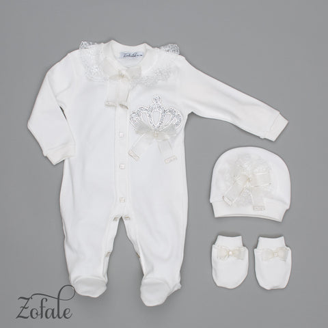 Blanche Crown Cream 3 Pieces Newborn Set