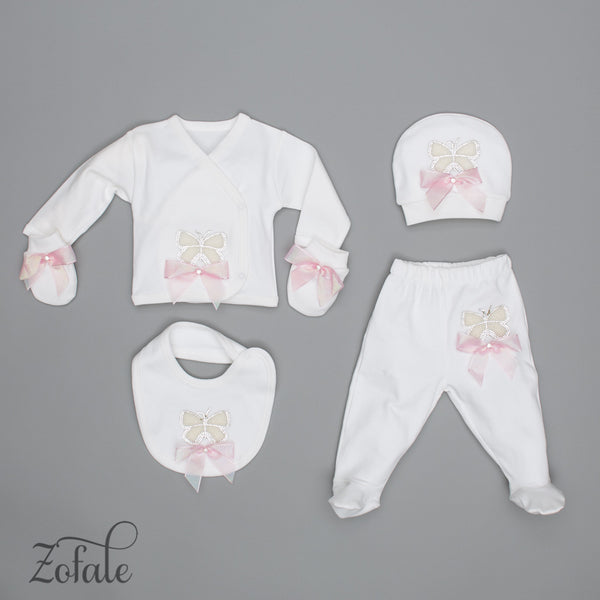 Alexi Butterfly Pink 3 Pieces Newborn Set