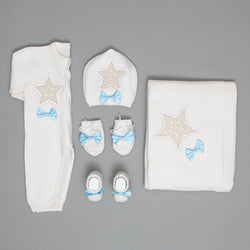 Clemence Steel Star Knitted 3 Pieces Newborn Set