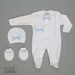 Claude Crown Satin Sky Bleu 3 Pieces Newborn Set