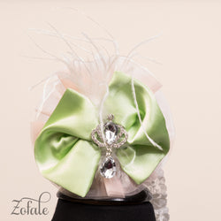 Tulip Silver Peach&Green Headband