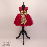 Daisy Red&Gold Lace Sequin and Feather Dress