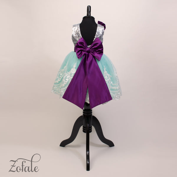 Tulip Silver,Turquoise&Purple Dress