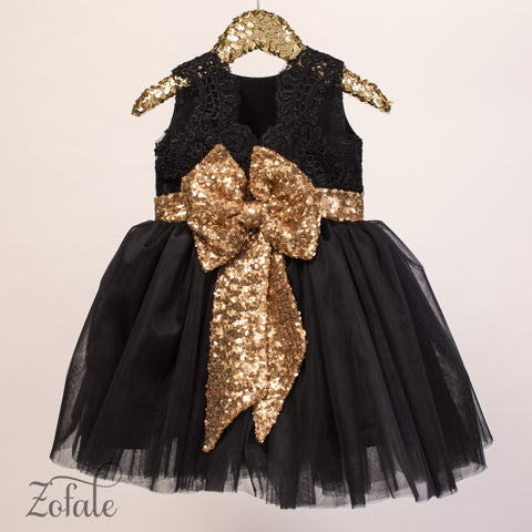 Daisy Black&Gold Lace Sequin and Feather Dress