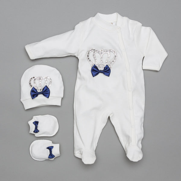 Camil Crown Navy 3 Pieces Newborn Set