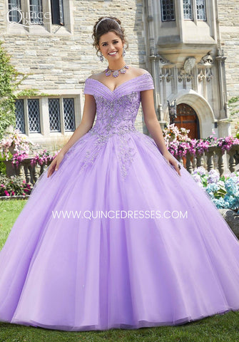 off shoulder lilac quinceanera gown