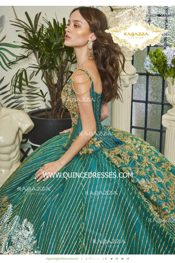 BEADED 2-PIECE V-NECK QUINCEANERA DRESS BY RAGAZZA FASHION D20-520