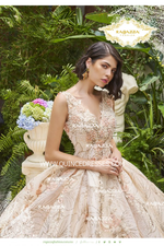 FLORAL PRINT V-NECK QUINCEANERA DRESS BY RAGAZZA FASHION DV32-532