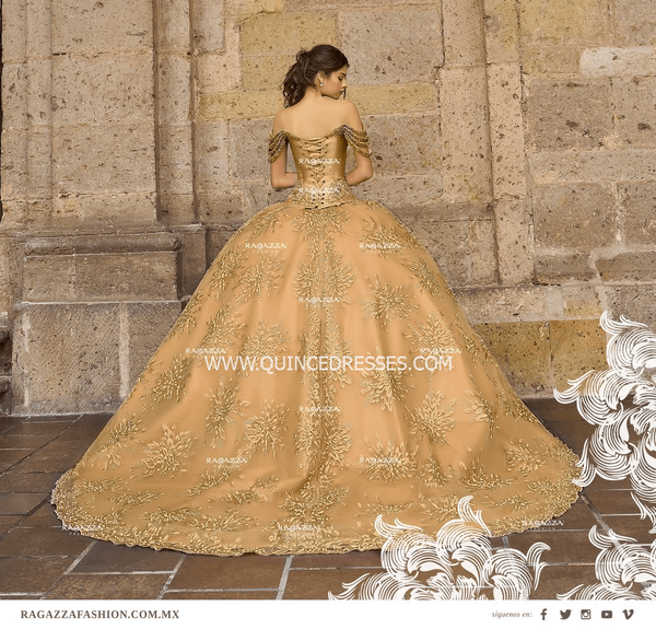 BEADED OFF THE SHOULDER QUINCEANERA DRESS BY RAGAZZA FASHION B96-396