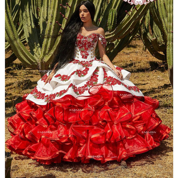 RUFFLED FLORAL CHARRO QUINCE DRESS BY RAGAZZA FASHION MV17-117