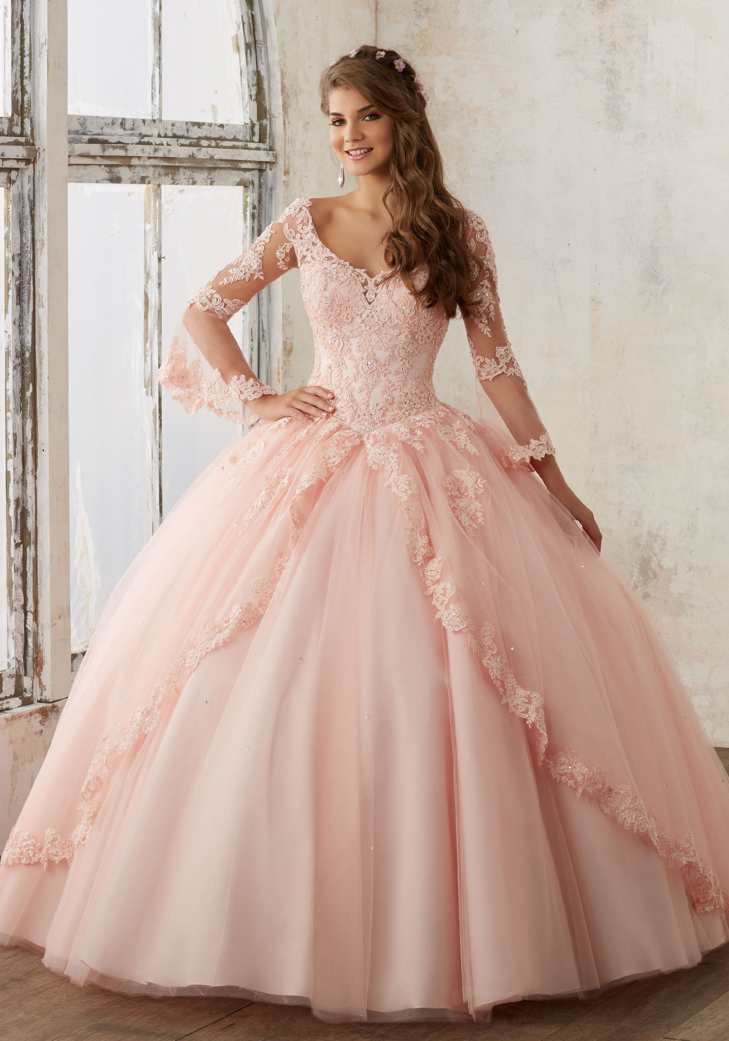 57b9638856 Beaded Lace on a Princess Tulle Quinceañera Ball Gown ...