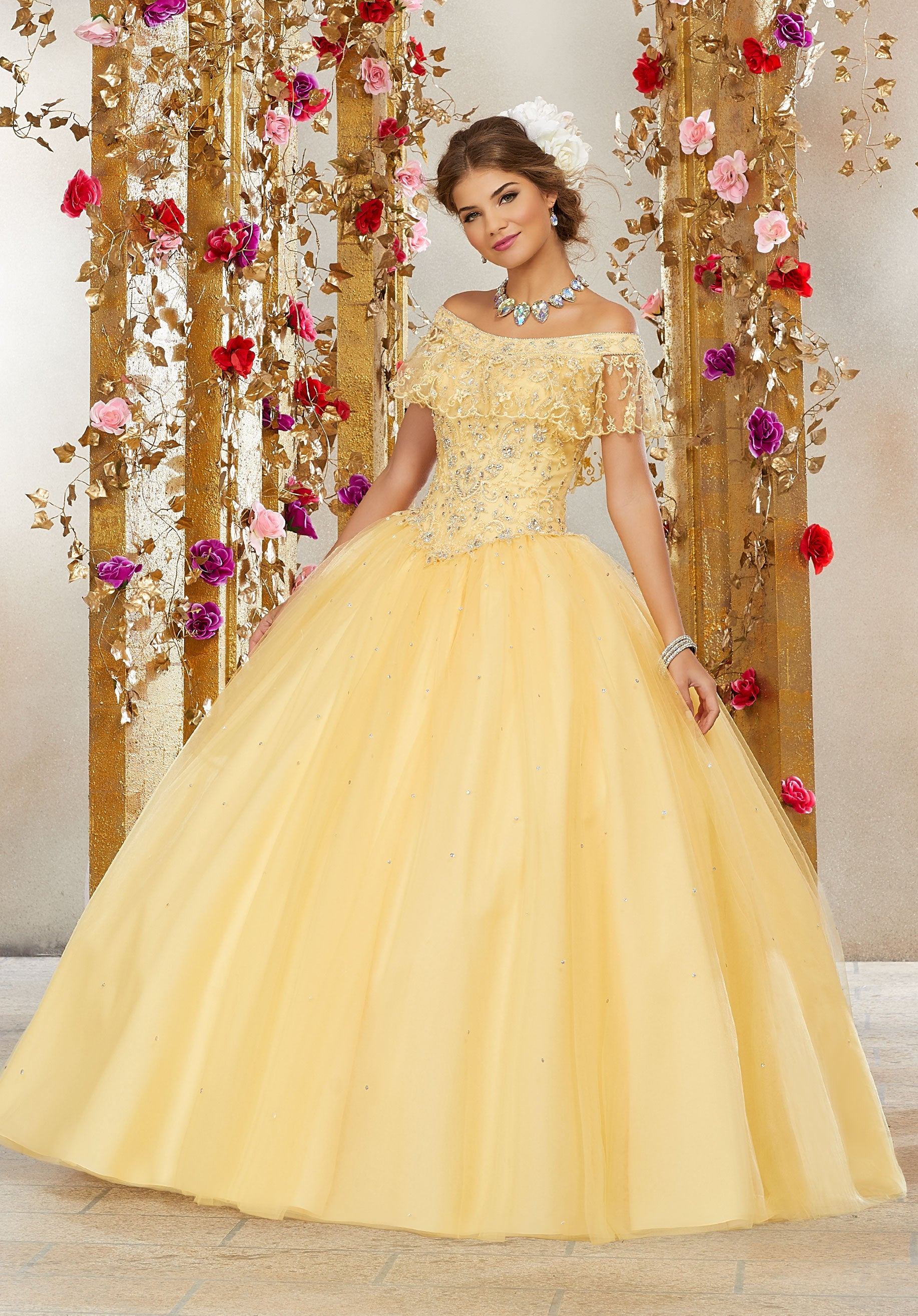 db99e6f33ed Beaded Tulle Off the Shoulder Ball Gown Dress for Quinceaneras ...