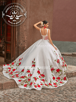 V-NECK FLORAL CHARRO QUINCEANERA DRESS BY RAGAZZA FASHION MV19-119
