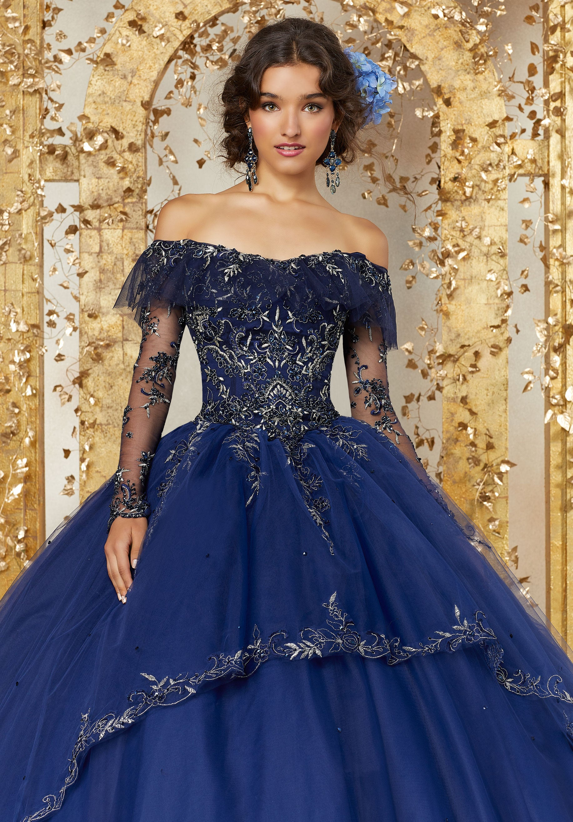 f861d3e21f Off the Shoulder Evening Gown with Embroidery and Beading ...