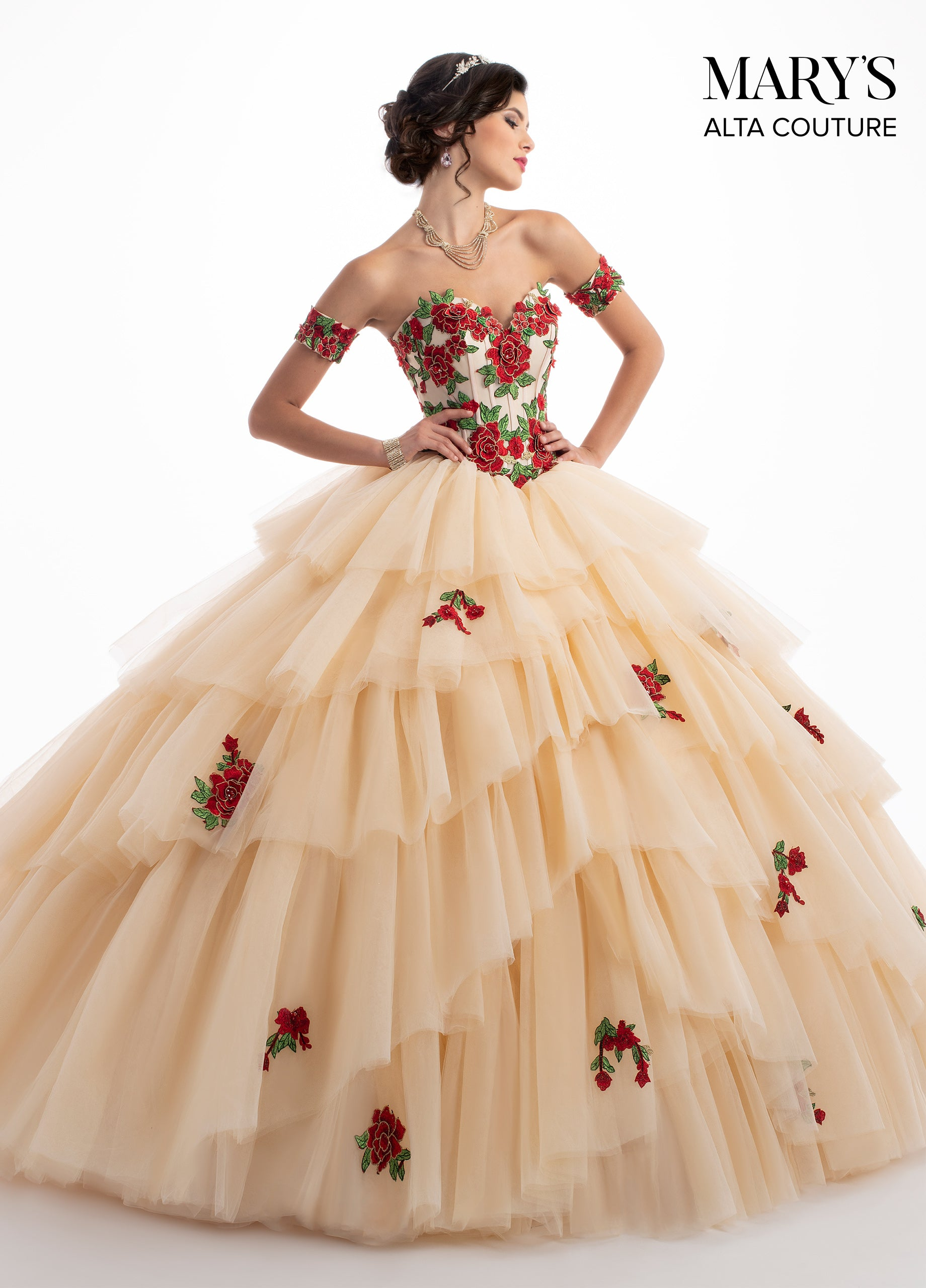23433fc3ae8 White Quinceanera Dress With Red Roses - Gomes Weine AG