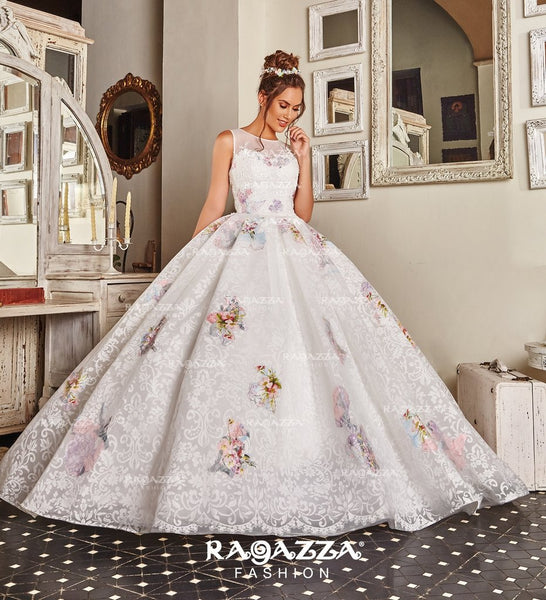 73b442cca9 White Ball Gown Quinceanera Dress with Floral Print - QuinceDresses.com