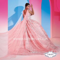 V-NECK CAPE QUINCEANERA DRESS BY RAGAZZA FASHION DV44-544